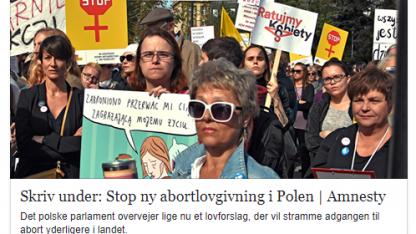 Amnesty angriber Polens ret til at beskytte sine ufødte