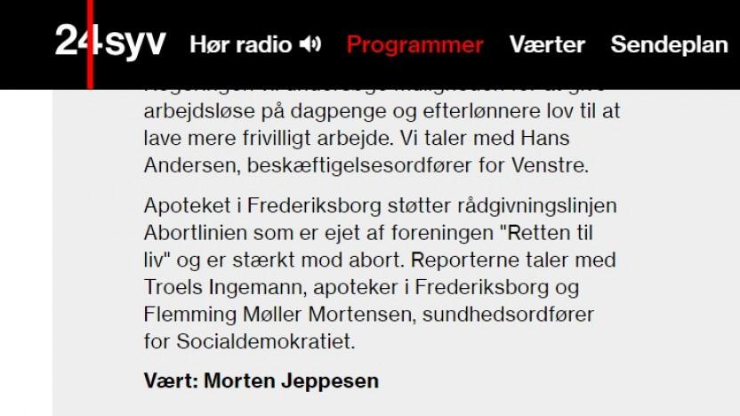 Radio 24syv: Må et apotek støtte Abortlinien?