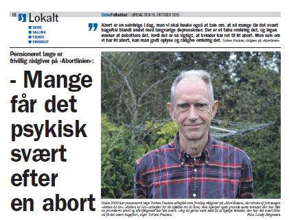 Interview i Skive Folkeblad med praktiserende læge Torben Poulsen, der er rådgiver på Abortlinien